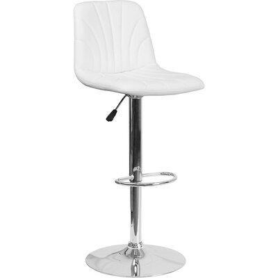 Whelan Luxe Mid Back Adjustable Height Swivel Bar Stool Upholstery: White