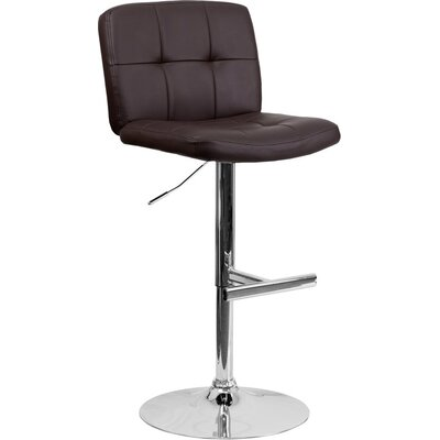 Whelan Mid Back Tufted Adjustable Height Swivel Bar Stool Upholstery: Brown