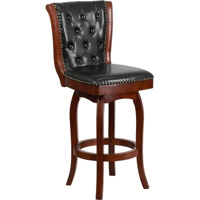 Rouillard Button Tufted 31 Swivel Bar Stool Color: Cherry