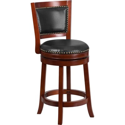 Jenkin Panel Back 27 Swivel Bar Stool Color: Dark Cherry