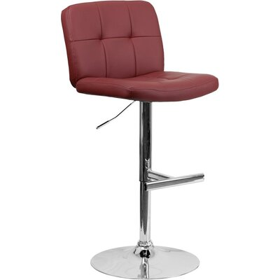 Whelan Mid Back Tufted Adjustable Height Swivel Bar Stool Upholstery: Burgundy