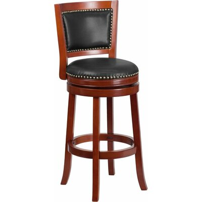 Jenkin Panel Back 31 Swivel Bar Stool Color: Dark Cherry