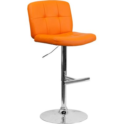 Whelan Mid Back Tufted Adjustable Height Swivel Bar Stool Upholstery: Orange