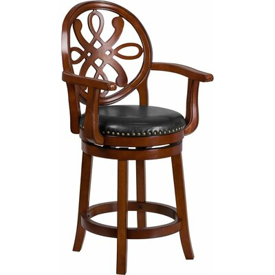 Rouillard 27 Swivel Bar Stool Color: Brandy
