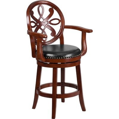 Rouillard 27 Swivel Bar Stool Color: Cherry