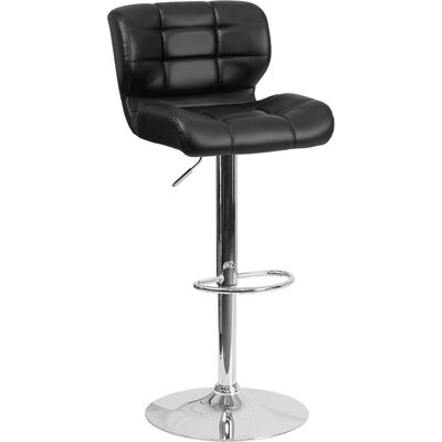 Whelan Mid Back Tufted Adjustable Height Swivel Bar Stool Upholstery: Black