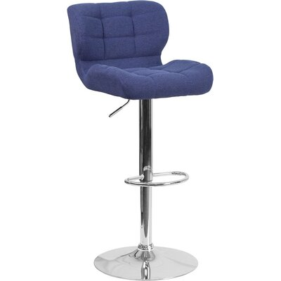 Whelan Mid Back Tufted Adjustable Height Swivel Bar Stool Upholstery: Blue