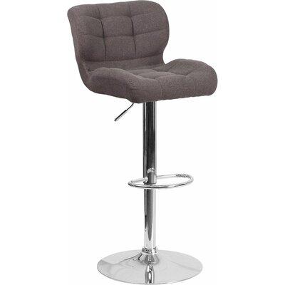 Whelan Mid Back Tufted Adjustable Height Swivel Bar Stool Upholstery: Dark Gray