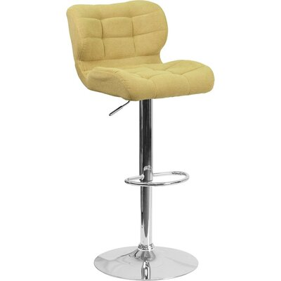 Whelan Mid Back Tufted Adjustable Height Swivel Bar Stool Upholstery: Citron