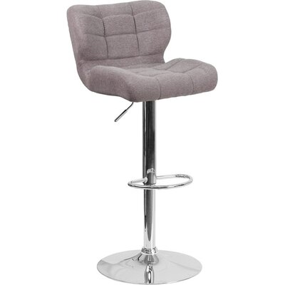 Whelan Mid Back Tufted Adjustable Height Swivel Bar Stool Upholstery: Gray