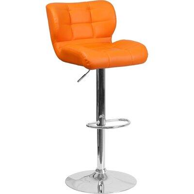 Whelan Mid Back Tufted Adjustable Height Swivel Bar Stool Upholstery: Orange