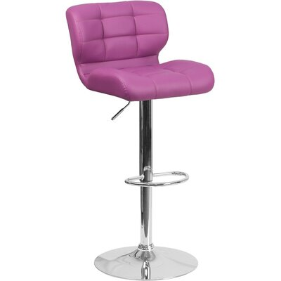 Whelan Mid Back Tufted Adjustable Height Swivel Bar Stool Upholstery: Purple