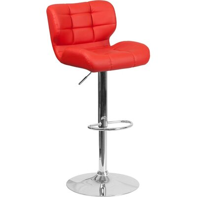 Whelan Mid Back Tufted Adjustable Height Swivel Bar Stool Upholstery: Red