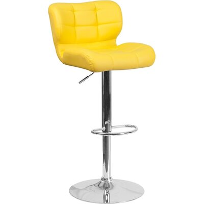 Whelan Mid Back Tufted Adjustable Height Swivel Bar Stool Upholstery: Yellow