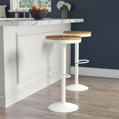 Gravois 23 Swivel Bar Stool Color: White