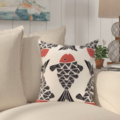 Grand Ridge Big Fish Coastal Throw Pillow Size: 18 H x 18 W, Color: Navy Blue