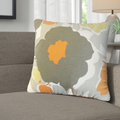 Janae Floral Cotton Throw Pillow Color: Orange