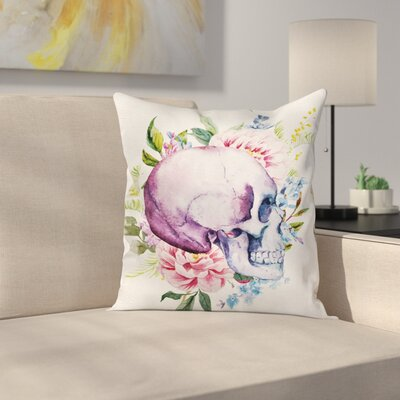 Skull Flowers Square Pillow Cover Size: 16 x 16