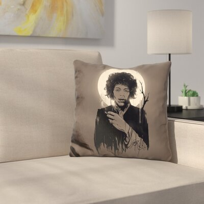 Jimi Hendrix Throw Pillow Color: Brown/Black
