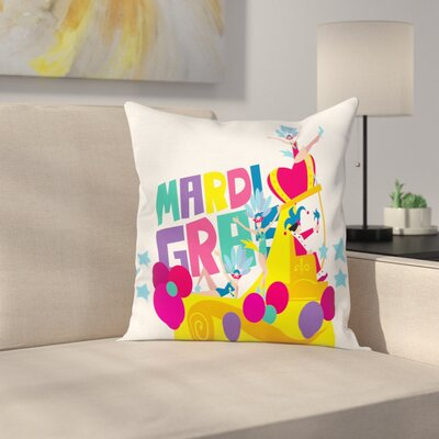 Mardi Gras Parade Dancers Theme Square Cushion Pillow Cover Size: 18 x 18