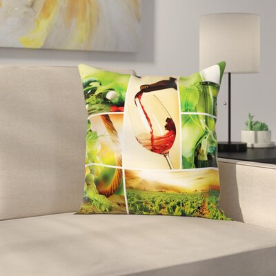 Wine Wine Tasting Grapevine Square Pillow Cover Size: 18 x 18