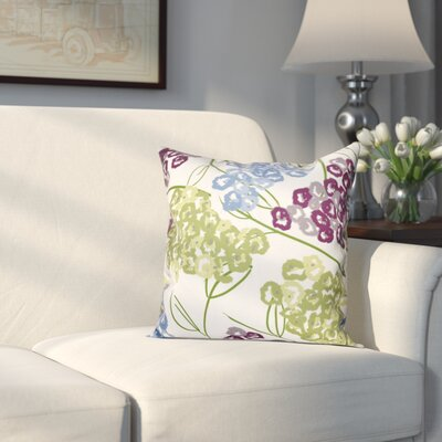 Greenwood Hydrangeas Throw Pillow Size: 16 H x 16 W, Color: Purple