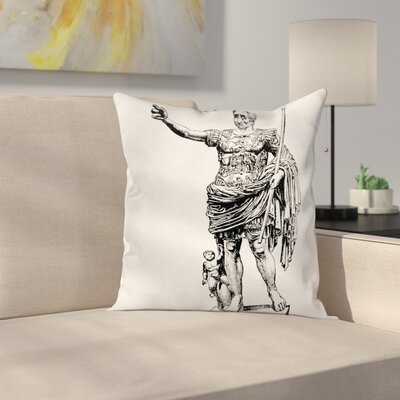 Antique King Statue Square Pillow Cover Size: 16 x 16