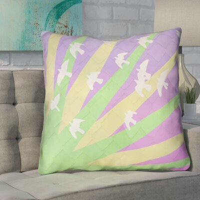 Enciso Birds and Sun Faux Leather Euro Pillow Color: Green/Yellow/Purple