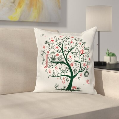 Christmas Tree Ornaments Gifts Square Pillow Cover Size: 16 x 16