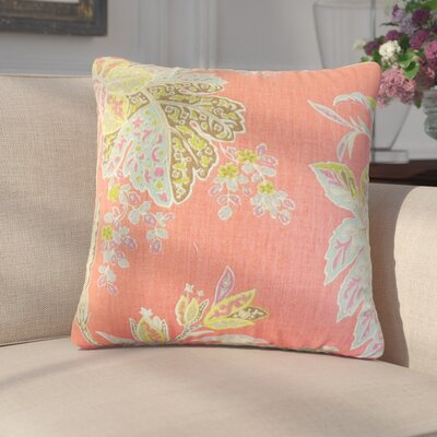 Marino Floral Linen Throw Pillow Color: Pink