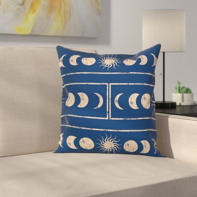 Sun and Moon Astrology Square Pillow Cover Size: 18 x 18