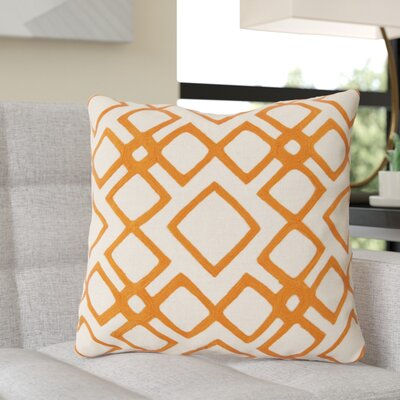Luka Diamond Linen Throw Pillow Size: 18 H x 18 W x 4 D, Color: Pumpkin / Peach Cream, Filler: Down