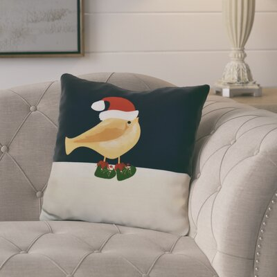 Merry Christmas Bird Throw Pillow Size: 20 H x 20 W, Color: Gold