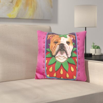 Bulldog Strawberry Throw Pillow