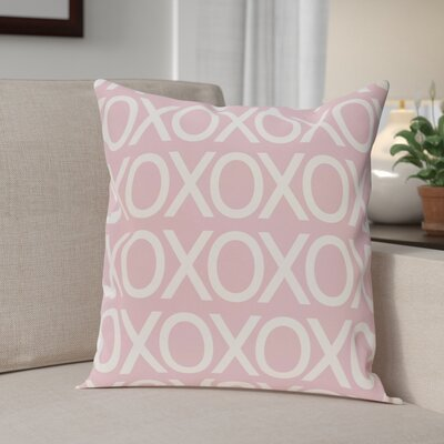 Valentines Day Outdoor Throw Pillow Size: 18 H x 18 W, Color: Pale Pink