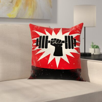 Fitness Grunge Dumbbell Lift Square Pillow Cover Size: 20 x 20
