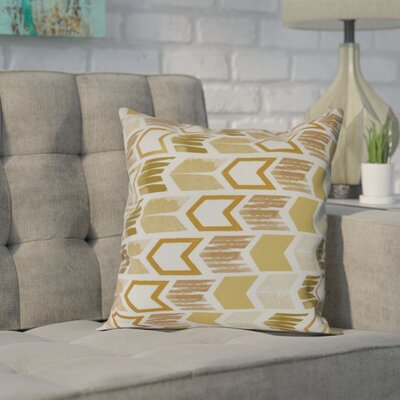 Waller Arrow Geometric Outdoor Throw Pillow Size: 16 H x 16 W, Color: Gold