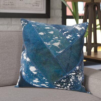 Boquillas Leather Throw Pillow Color: Navy/Silver