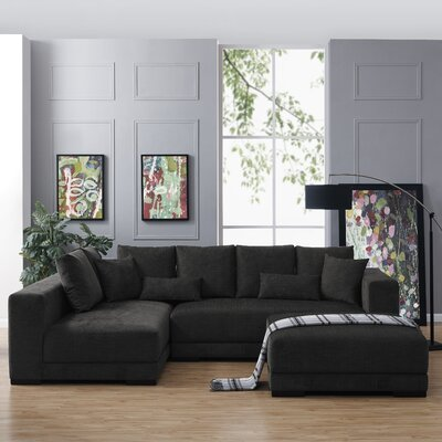 Hugo Reversible Sectional with Ottoman Upholstery: Charcoal Blue