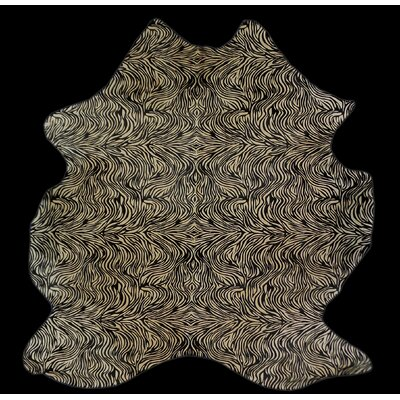 One-of-a-Kind Colebrook Zebra Stencil Hand-Woven Cowhide Gray Area Rug