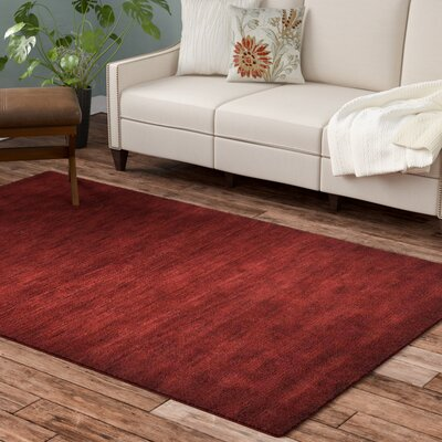 Ry Hand-Knotted Wool Dark Red Area Rug Rug Size: 6 x 9