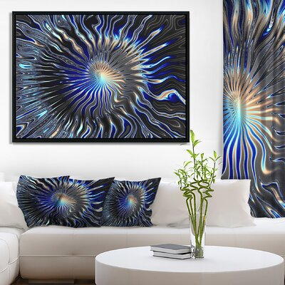 Abstract 'Blue Rays from the Circle' Framed Graphic Art Print on Wrapped Canvas ERNH5807 46705915