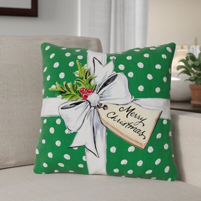 Polka Dot Bow Throw Pillow Size: 18 x 18