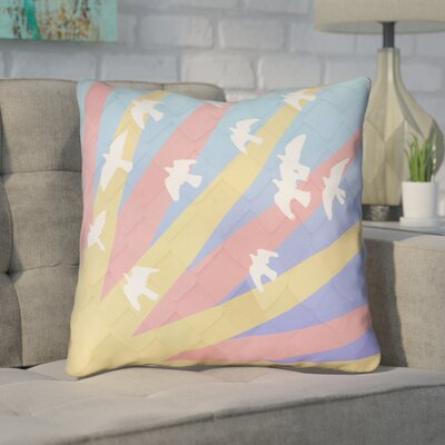 Enciso Birds and Sun Throw Pillow Color: Pink/Yellow/Blue, Size: 16 H x 16 W