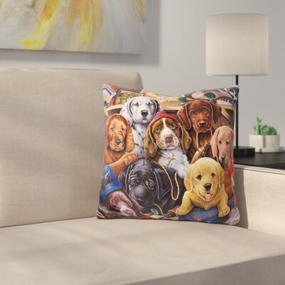 Grandpa Puppies Throw Pillow