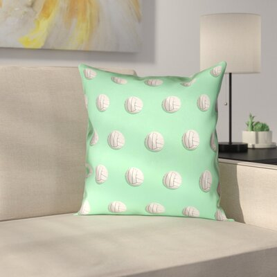 Volleyball 100% Cotton Pillow Cover Size: 16 x 16, Color: Green