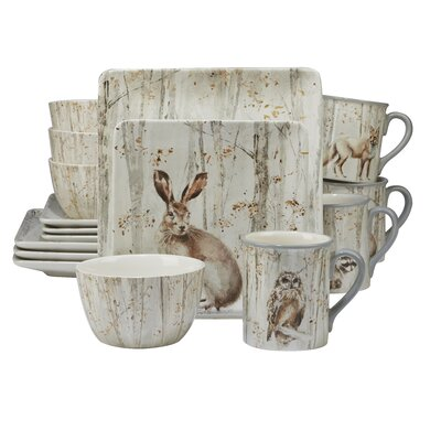 Freeborn A Woodland Walk 16 Piece Dinnerware Set, Service for 4 8BAB850E3208457E883CCBA229777C8C
