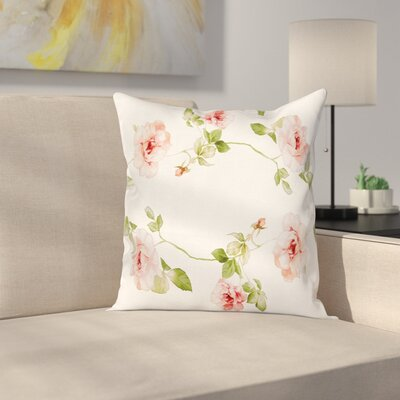 Roses Romantic Pillow Cover Size: 16 x 16