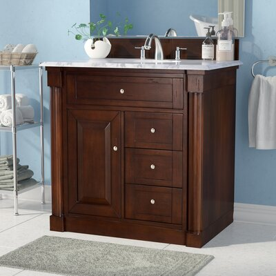 Maurice 36 Single Burnished Mahogany Bathroom Vanity Set Base Finish: Burnished Mahogany, Top Finish: Arctic Fall Solid Surface, Top Thickness: 3cm