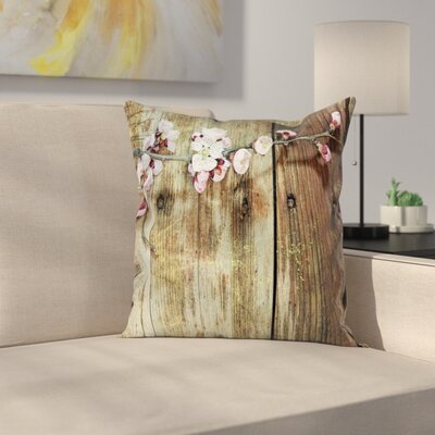 Rustic Blooming Spring Flowers Square Pillow Cover Size: 24 x 24